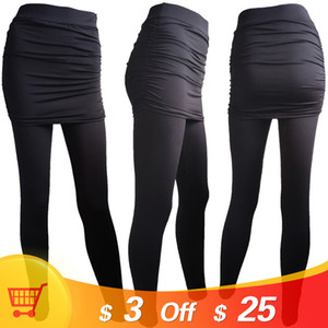 Homophonie Frauen Stücke Hüftseitige Plissee Rock Sexy Slim Zwei rockige Leggings Hohe Taille Hosen Mode