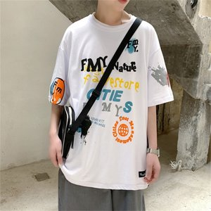 Street 2209 trendy hip hop short sleeve T-shirt men's ins trendy loose Harajuku style graffiti all-match half sleeve N6EF