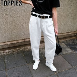 toppies 2020 White Jeans High Waist Denim Harem Pants Boyfriend jeans for Woman Loose Trousers vaqueros mujer A1112