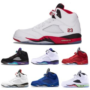 Best discount mens Basketball shoes 5 5s Black Grape White Cement Olympic Gold Medal Space Jam Blue Fire Red Sport Sneakers size 7-13