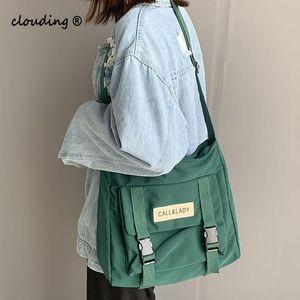 Нейлон водонепроницаемый холст школьная сумка модный японский стиль простой мешок мешок корейский почтальон сумка