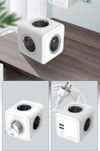 Европейский стиль Удлинительный шнур с USB Cube Socket Converter