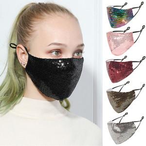 Yüz Maskesi 2021 Moda Blingbling Pullu Madeni Pul Tasarımcısı Maskeleri Yıkanabilir Kullanımlık Bayanmask Mascarillas Koruyucu Ayarlanabilir Yüz