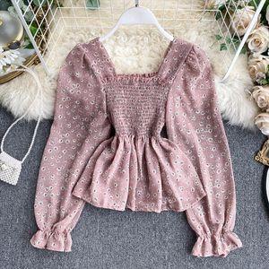 Women Chic Gorgeous Sweet Retro Square Collar Elastic Waist Chiffon Shirt Lady Long Sleeve Korean Fashion Clothing Blouse L258