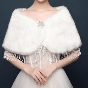 2021 Bridal Winter Warm Cape Fur Shawl Wedding Outerwear Bolero Wrap Cape Stole Women Jacket Coat Shrug for Party Dresses BD011