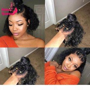 Frente a corto 13X6 Bob Pixie Cut peluca Preplucked parte profunda del cordón del pelo humano de Remy pelucas peluca rizada Belached nudos para las mujeres Negro
