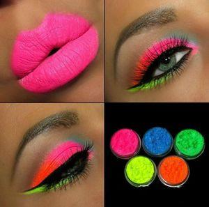 6 Color Sets Nail glitter Lasting Fluorescent Matte Eyeshadow Neon Pigment Powder Halloween Decoration Eyeshadow Palette Beauty Glazed DHL