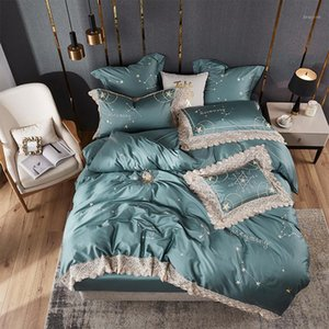 42 Egyptian Cotton Bedding Set Twin Queen King size star embroidery Duvet Cover Bed sheet set Pillowcase1