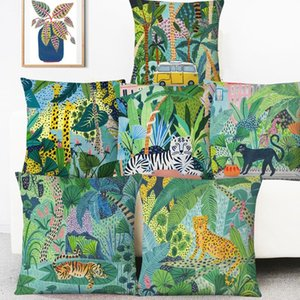 Hand Painting Forest Animals Cushion Covers Jungle Vibes Leopard Tiger Snake Cat Sloth Cushion Cover Linen Pillow Case