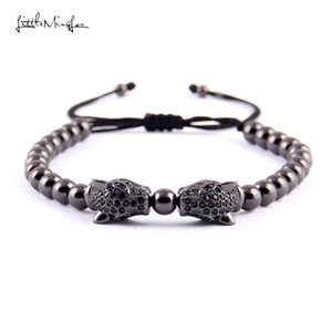 Little MingLou Luxury CZ zircon Double Leopard Head charm copper Beads braid men bracelets & bangles for men jewelry