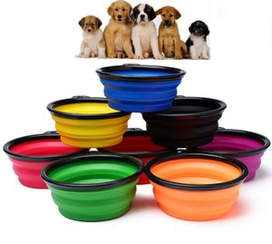 Outdoor Collapsible Dog Cat Feeding dish 450ml Two Styles Pet Water bowl Feeder Silicone Foldable bowl With Hook 14 Styles 450ml
