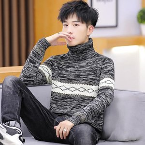 2020 men's turtleneck sweater spring and autumn new casual Korean version of the trend of personality handsome knitted sweater