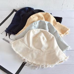 Japonais Harajuku Femmes Couleur Solide Coton Burrs Fisherman Hat Summer Capuchon extérieure Femme Pliable Suncreen Seau Casual Chapeaux