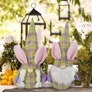Пасхальный кролик гномы плюшевые безбытные кукла украшения дома присутствующие весенние подарок фаршированной мультфильм кукла DIY праздник украшения орнамент кукла
