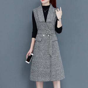 Cyanlee 2020 Kış Zarif Lady Coat Örme Tops Ve Ekose Elbise İki Kıyafet Kore Tarzı Kadın 2 Parça Set Giysileri
