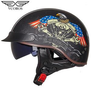 Новое Прибытие VCOROS MT-4 Винтажный ретро мотоцикл шлем открытый лицевой шлем для мотоциклов мотореметный мотореатер RASCO1