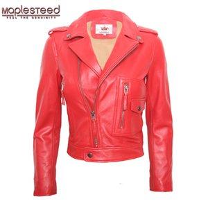 MAPLESEDEED para mujer chaqueta de cuero chaqueta de piel de oveja chaqueta de piel de cordero rojo negro hembra de cuero genuino cubierta de cuero de cuero damas Ropa de ciclista M117 201030