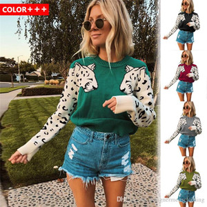 Women Designer Sweater Colorful Leopard Print O Neck Long Sleeve Womens Sweater Wool Winter Ladies Clothing