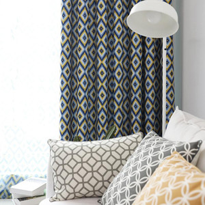 New Cafe Nordic Style Printed Plaid Curtains For Living Room Fashion Roman Fabric tulle For Bedroom Curtain