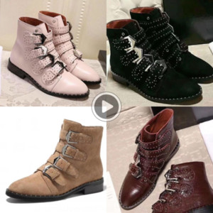 Hot Sale-OraAv Designer Susanna leather women Suede Ankle Bootsshoes women Studded Leathercombat boots 10 colors size35-41