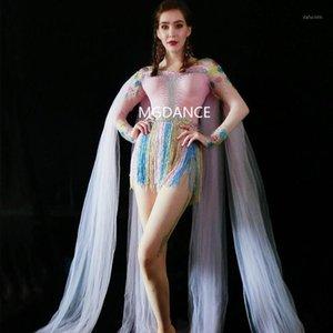 Bunte Fransen Rhinestones Body Long Mesh Cloak Bühne Tanzkostüm Nachtclub Weibliche Sänger Show Leotard1