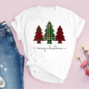Tees for Women Print Plaid Tree Holiday 90s trend cute Merry Christmas Ladies Clothes Lady Tops Clothing Female T Shirt T Shirt