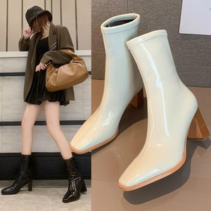 White Mid-Calf Boots Rock Shoes Woman Winter Footwear Round Toe Boots-Women Low High Heel 2020 Ladies Autumn Rubber Mid