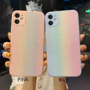 Rainbow Fabric Glitter Back Case Anti-skid Full Protective Phone Shell for iPhone 12 11 Pro Max XR 8 Plus Huawei Mate40 P40 Mate30