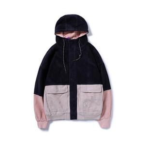 XingDeng Hip Hop Hoodies top comfortable Fashion Jackets Men Color Block Patchwork Corduroy Hooded Coats Male Casual Streetwear