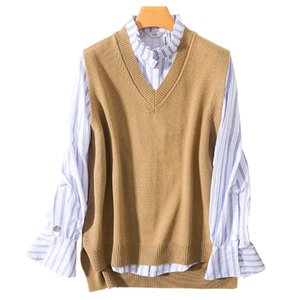 Women Vest Sleeveless 100% Cashmere and Wool Knitting Sweaters Female V-neck Loose Winter & Autumn Woolen Blended Pullovers Tops Y201128