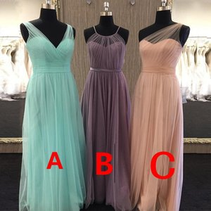 New wedding girl Bridesmaid Dress 2020 solid color double shoulder dress