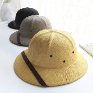 Novelty Straw Helmet Pith Sun Hats for Men Vietnam War Army Hat Dad Boater Bucket Hats Safari Jungle Miners Cap