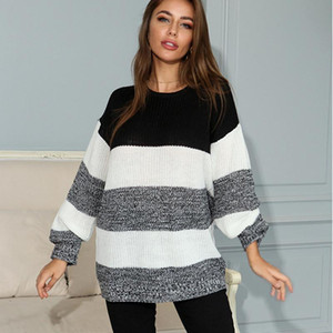 Long-sleeved sweater sweater women fall winter loose round neck striped color matching outer wear 2020 new pullover casual top