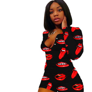Tuta da donna Moda Labbra Pantaloni manica lunga Pagliaccetti Valentine's Day Onesies Sexy Deep Deep Neck Skinny One Piece Shorts Body HH12106