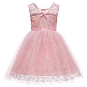 Çiçek Çocuklar Kız Düğün Dantel Nakış Kız Giydirme Prenses Parti Kolsuz Resmi elbise Prom Küçük Kız Bebek Doğum Elbise C1118