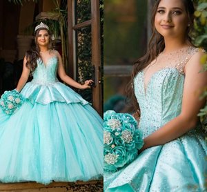 Blue Ball Gown Quinceanera Dresses With Ruffle Beaded Satin Tulle Jewel Sheer Cap Sleeve Lace-up Sweet 16 Prom Dress Vestidos De Quinceanera