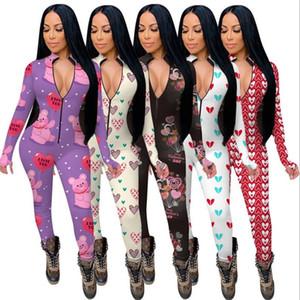 여성 Jumpsuits Rompers 긴 소매 V 넥 디자이너 나이트웨어 Playsuit Bodysuit 발렌타인 데이 스키니 파자마 onesies 5 색 E122311