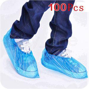 Kunststoff wasserdichte Einweg-Schuhabdeckungen Regentag Teppichbodenschutz Blaue Reinigung Schuhabdeckung Überschuhe für Home RRA3890