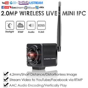 4K 8.0MP Wireless WiFi Distortionless Mini Cube Live Streaming IP Camera Streaming Live Video to YouTube Facebook by RTMP WAudio