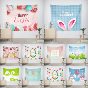 Easter Tapestry Wall Hanging Easter Eggs and Funny Bunny Rabbit Wall Tapestry Digital Printed Backdrop for Dorm Decor 130*150cm