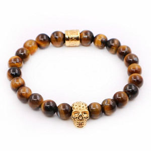 New Design High Grade Jewelry Tiger Eye Beads with Stainless steel Skull Charms Bracelets Man Women Best Friends Gift pulseira