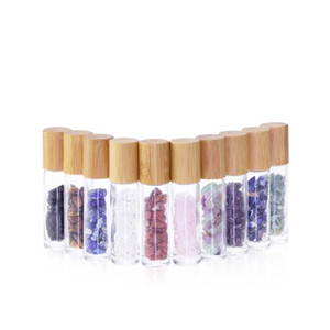 10 ml Essential Oil Diffuser Clear Glass Roll on Perfume Bottles Natural Crystal Quartz Stone Grain Roller Ball Bottles T9I00167 267 G2