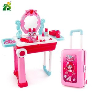19Pcs Girls Make Up Toy Plastic Set Kids Pretend Play Princess Game Pink Nail Polish Lipstick Change Suitcase Toys For Children T200712