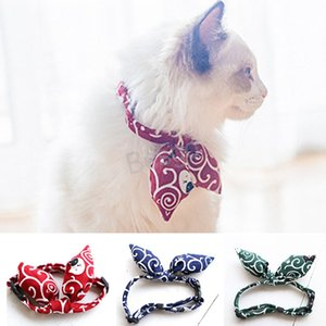 Japanese Style Printed Cat Collar Adjustable Cat Bowtie Collar Small Cat Puppy Tie Collars Traction Rope Accessories Dog Collar BH4423 TQQ