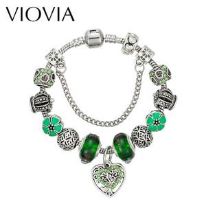 매력 팔찌 Viovia 녹색 심장 비즈 여성을위한 브랜드 쥬얼리 DIY 만들기 액세서리 선물 B16155