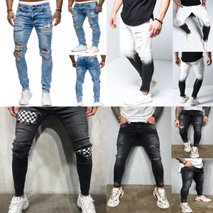 Destroyed Ripped Jeans Men 2020 Skinny Mens Sexy Hole Stretch Denim Trousers Spring Thin Straight Pencil Jeans Long Pants Male Z1216