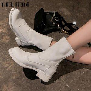Ribetrini Soft Pleated High Top Top Toble Shoes Classic Genuine Cuero Mujer Botas de tacón bajo Talón Botas