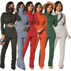 women s clothing 2 piece set tracksuit fashion casual sports solid color pile collar high elastic ribbed suit LY1361