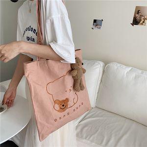 سعة كبيرة السيدات حقيبة تسوق قابلة لإعادة الاستخدام لطيف المطرزة الدب المرأة قماش الكتف حقيبة عارضة حمل جميل الوردي فتاة حقيبة 2jug