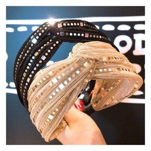 Coreano Small Fragrância Gold Lace Sequin Cruz Versátil Brim Wide Brim Hair Band Hairpin Acessórios